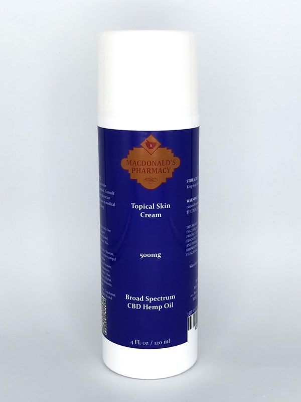 Broad Spectrum 500mg Topical Skin Cream 4Fl oz.